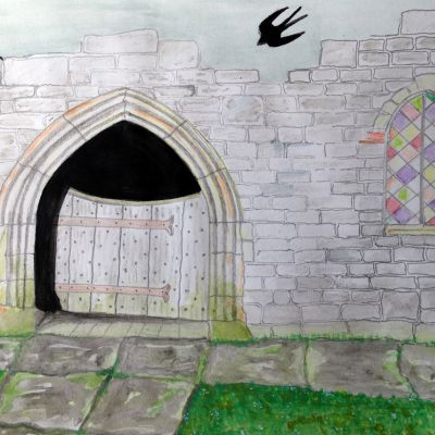 Mere Church - Tom Bell (in acrylic water colour pencil and graphite
