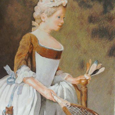Girl With Shuttlecock - Lynne Harvey (Colour Pencil)