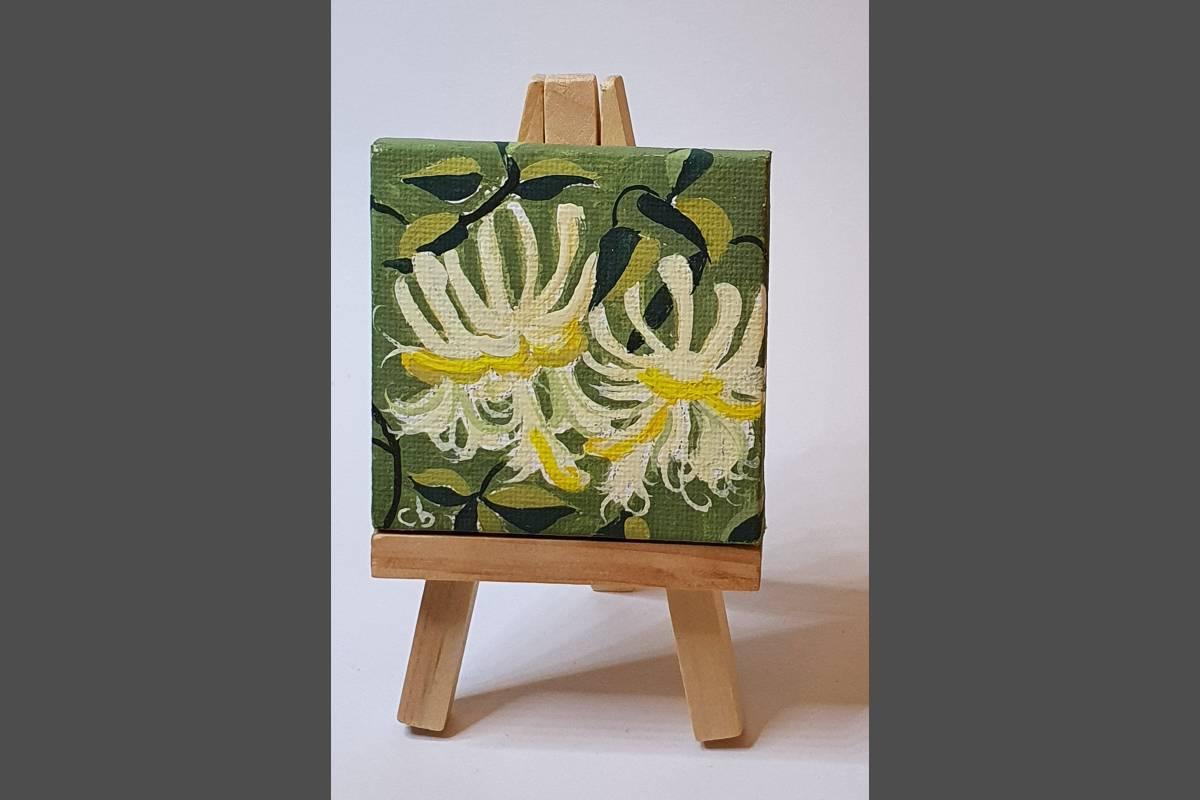 Wild Honeysuckle 7x7cm. in Gouache. - Christine Fleckney