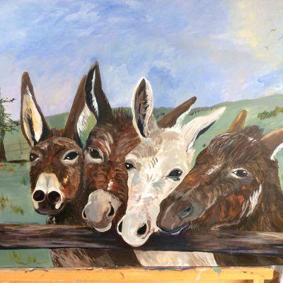 Donkeys   in Gouache - Yvonne Shayler