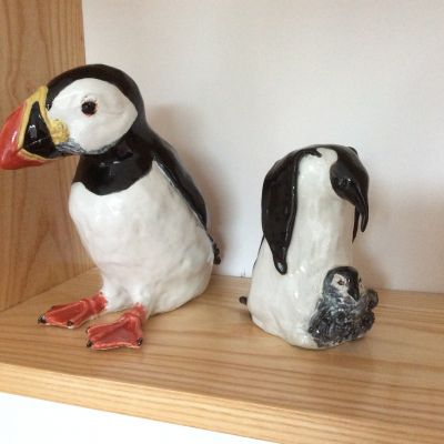 Puffin and Penguin  in Stoneware - Yvonne Shayler
