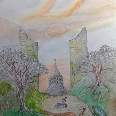 Glastonbury Abbey - Tom Bell (in acrylic water colour pencil and graphite)
