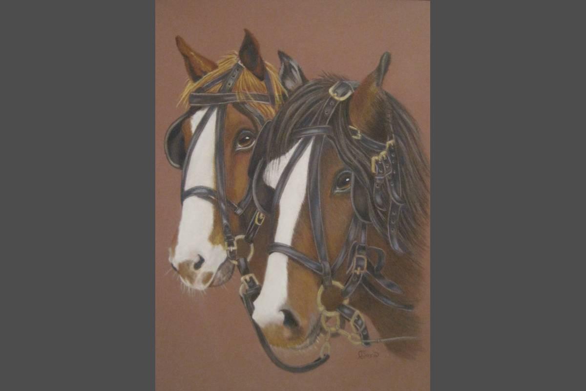"2 Friends ""shire horses"" in coloured pencil - Dora Carrington"