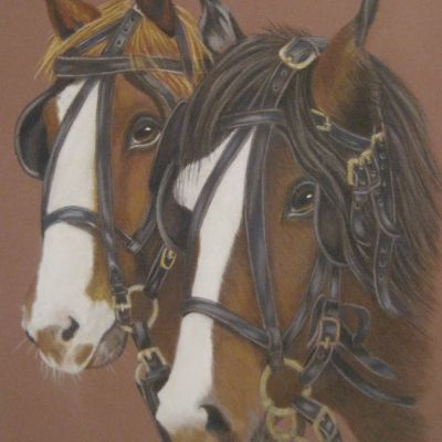 "2 Friends ""shire horses"" in coloured pencil - Dora Carrington"