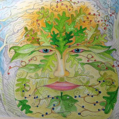 Green Man  - Tom Bell (in acrylic water colour pencil and graphite